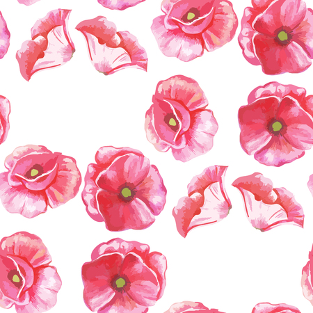 Vector illustration of a seamless pattern of flowers of tulips