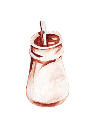 Hand drawing of a watercolor painting of a aroma coffee Stock Photo