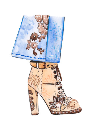 Illustration of drawing a watercolor high-heeled shoes on an isolated background Banco de Imagens