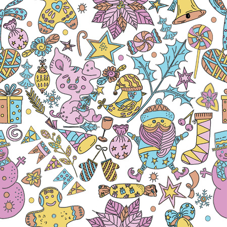 Vector illustration of new year and christmas elements in the form of a seamless pattern drawn by hands Vectores