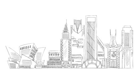 Illustration of sketch drawing black contour of skyline cities on a white isolated background.