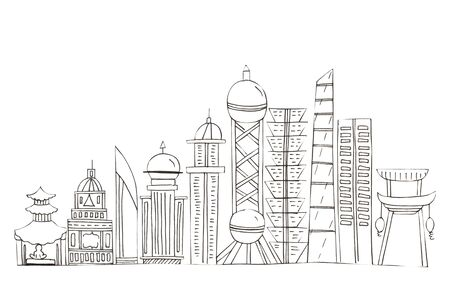 Illustration of sketch drawing black contour of skyline cities on a white isolated background. Фото со стока - 127988788