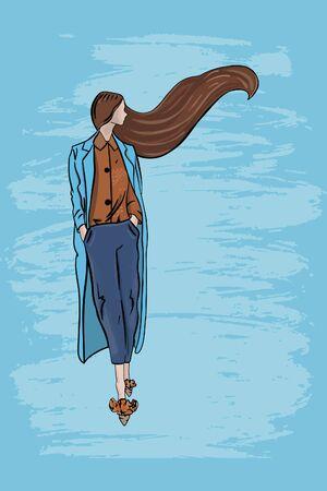 Vector fashion illustration of a girl model in fashionable clothes on a textural blue background Vektoros illusztráció