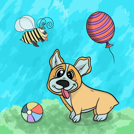 Vector illustration of a animal dog playing in the clearing on the grass among flowers and toys on a textured background 일러스트