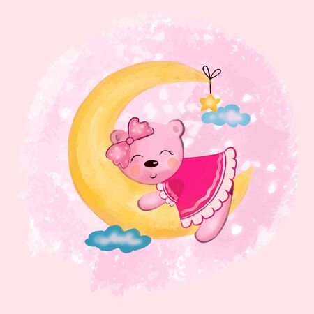 Vector illustration of an animal girl bear sleeping on a crescent moon in the sky among the clouds in pink colors