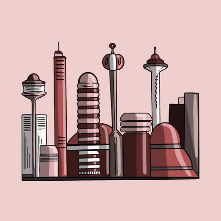 Vector color illustration of futuristic outlines of skyscrapers of the city of the future on the pink background