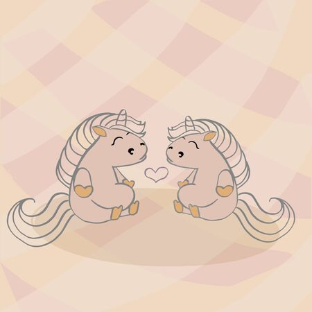 Color vector illustration of animal horses and ponies for Valentine day, couples in love on the backgrounds.