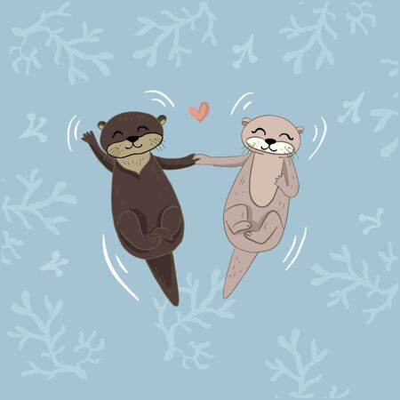 Color vector illustration of animal muskrats and beavers for Valentine day, couples in love on the backgrounds.