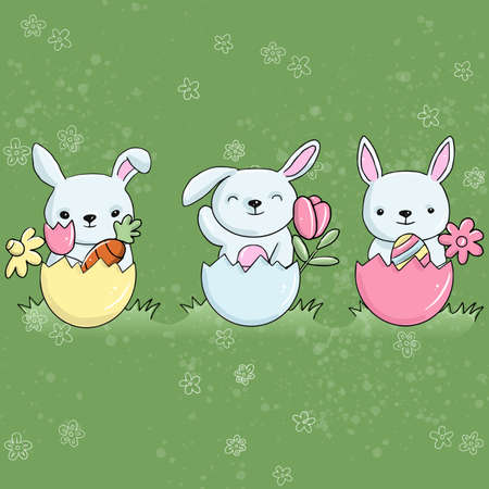 Vector easter illustration of three rabbits with eggs in the meadow on a green background with flowers