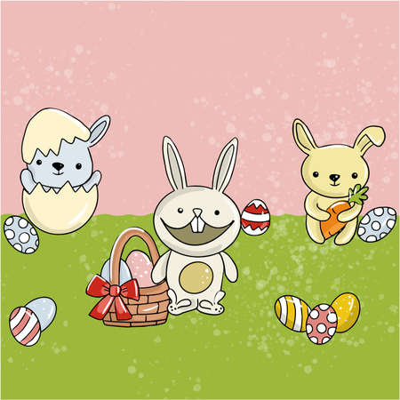 Vector Easter illustration of rabbits with eggs in the meadow on a pink-green background