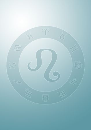 newage: zodiac sign on blue gradient background Stock Photo