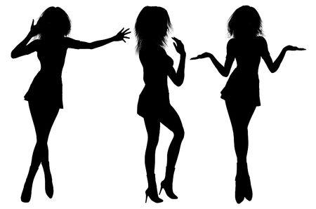 miniskirt: Isolated sexy black female silhouettes on white