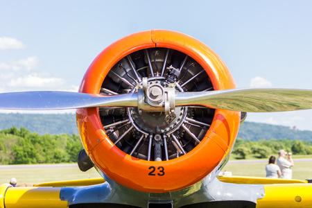 Close up of vintage airplane engine