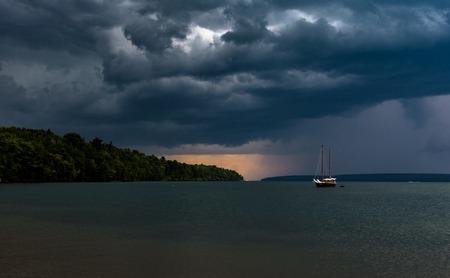 Sail Boat Storm Coming Sail Boat On Lake