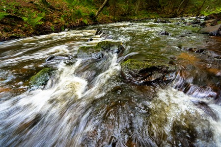 Rushing stream over boulders Green Moss and Rapids