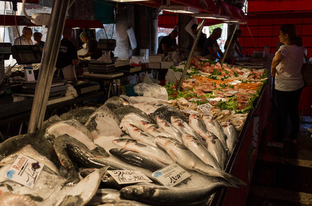 the merchant of venice: Venice, Italy - September, 2016: Rialto Fish Market. Fresh seafood is displayed on crushed ice. Shellfish, fish, squid. Buyers buy products. Editorial