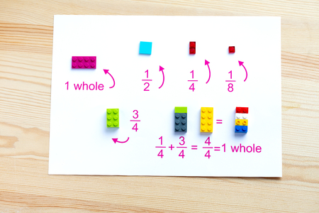 A game for children to learn mathematics. Match the blocks to the account.