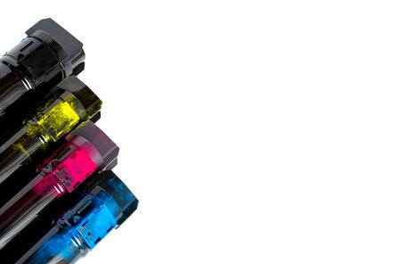 Toner cartridge set for color laser printer. Equipment for printingon white background Stock fotó