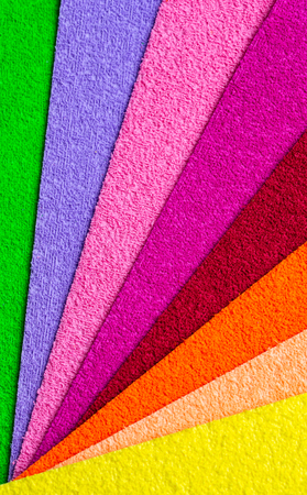 Colored material for decoration spread out like a fan. Rough