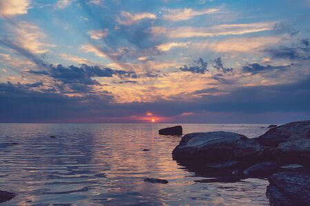 Sunset on the Caspian Sea, Kazakhstan, Aktau.
