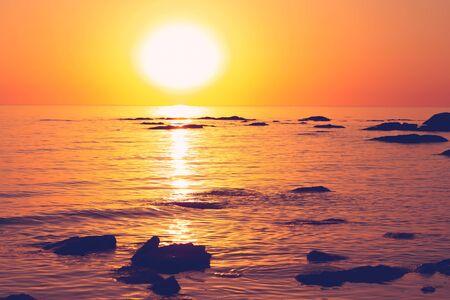 Golden Sunset and water on the Caspian Sea, Kazakhstan, Aktau.