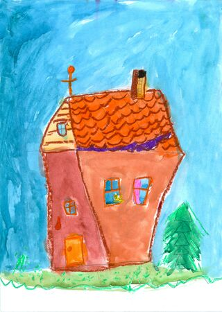 House in the village. Childrens drawing