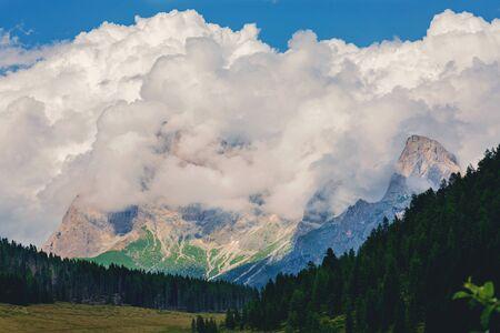 Mezzano Imerm, Pale di San Martino village with Dolomite peaks in Val di Primiero Noana of Trentino Alto-Adige near the lake Calaita Italy.