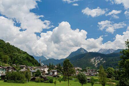 Mezzano Imerm, Pale di San Martino village with Dolomite peaks in Val di Primiero Noana of Trentino Alto-Adige, Italy in sunrise Stock fotó