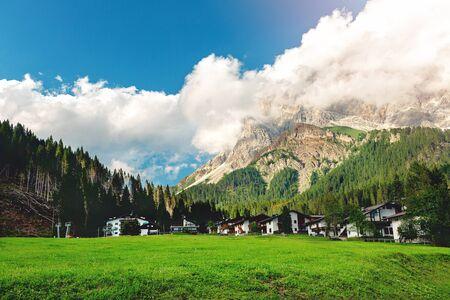 Mezzano Imerm, Pale di San Martino village with Dolomite peaks in Val di Primiero Noana of Trentino Alto-Adige .