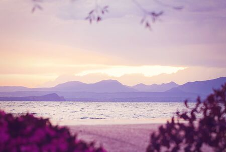 Beautiful gentle view of Lake Garda framed by flowers. In purple and lilac shades. Sunset after a thunderstorm. Stock fotó