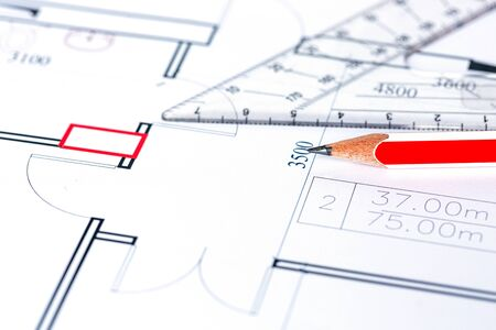Engineering and architectural drawing, red pencil, background Reklamní fotografie