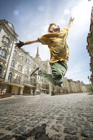 urban culture: Dancer hip-hop in town street