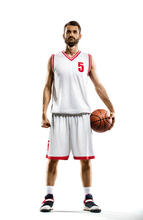 canestro basket: Giocatore di basket isolato su bianco