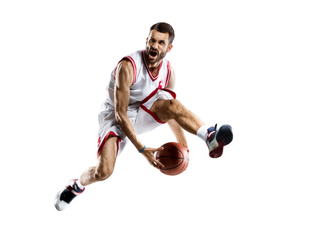 baloncesto: Jugador de baloncesto aislados en blanco Foto de archivo