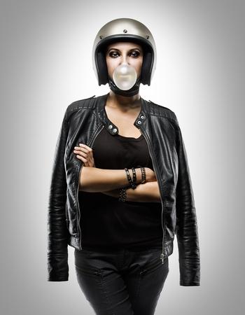motorrad frau: Sexy Radfahrerfrau Lizenzfreie Bilder