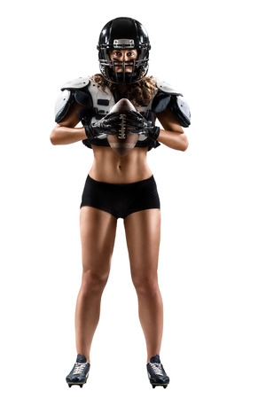 women body: Isolated female american football player Stock Photo