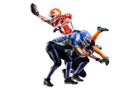 acion: Jugador de fútbol americano en la acción en el estadio