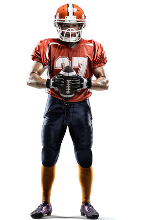 American football player in action white on isolated Stock Photo
