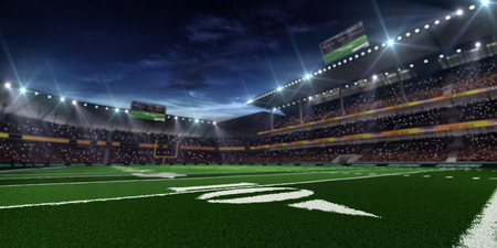 soccer field: Grand american football stadium befor mach at the night Stock Photo