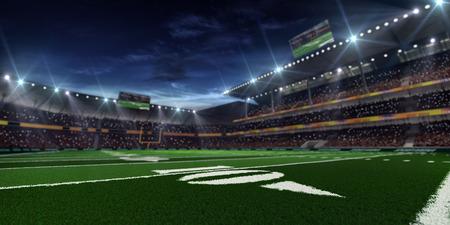 Grote Amerikaanse voetbalstadion goederenvervoerder mach in de nacht