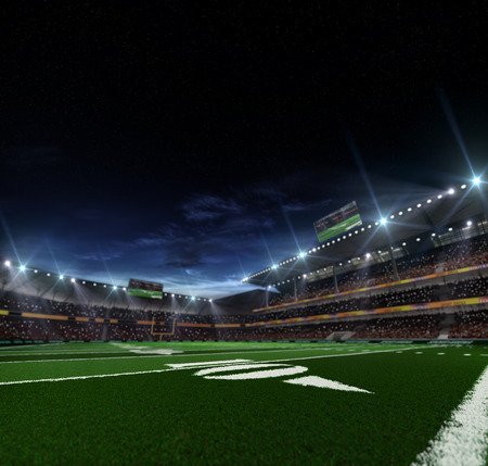 footballs: Grand american football stadium befor mach at the night Stock Photo