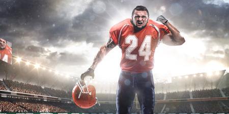 light up: American football sportsman player in stadium