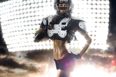 american sexy girl: American football female players in the action Stock Photo