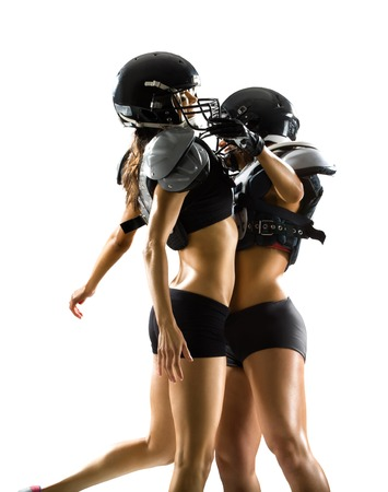 american sexy: Female american football players isolated on white background Stock Photo