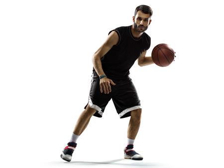 canestro basket: Giocatore di basket in azione isolato su bianco Archivio Fotografico
