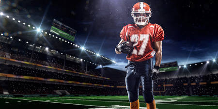 players: American football sportsman player in stadium