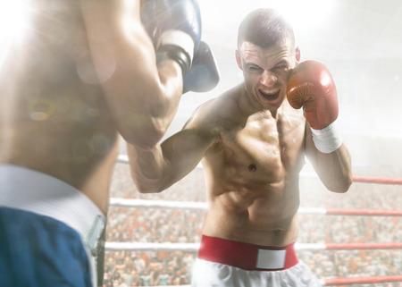 boxer: Dos boxeadores professionl est�n luchando en la gran arena