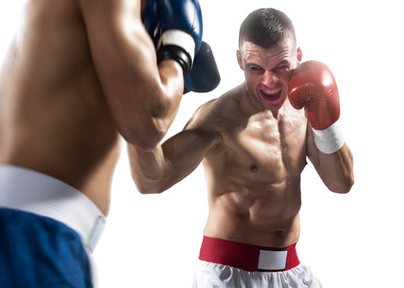 match box: Two isolated professionl boxers are fighting on the white background Stock Photo