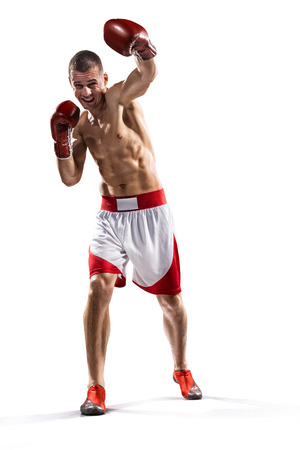 Professionl boxer is isolated on white background photo