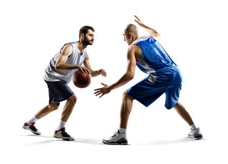 Aislado en blanco dos jugadores de baloncesto de acción Foto de archivo - 34064685